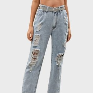 SHEIN GREAT COND MOM JEANS RIPPED DESTROYED HIGH